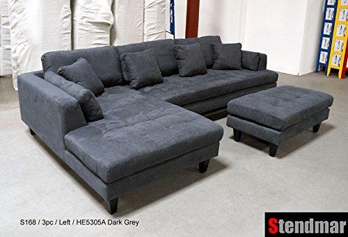 grey microfiber sectional sofa for