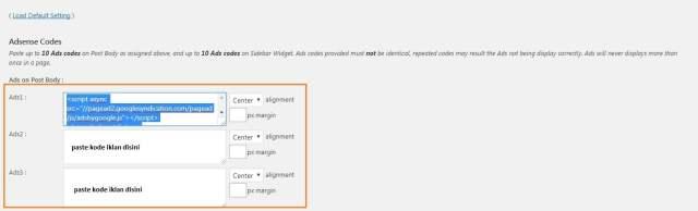 Cara Memasang Iklan Adsense Pada WordPress - paste kode pada quick adsense-min
