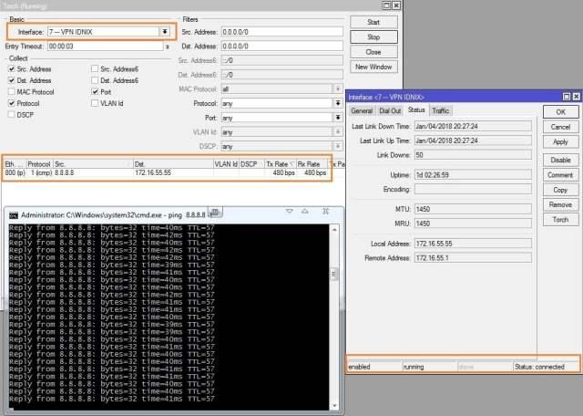Cara Setting VPN PPTP di MikroTik - test ping 8.8.8.8-min