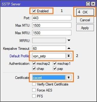 Cara Setting VPN SSTP Pada MikroTik - SSTP Server - enable service sstp-min