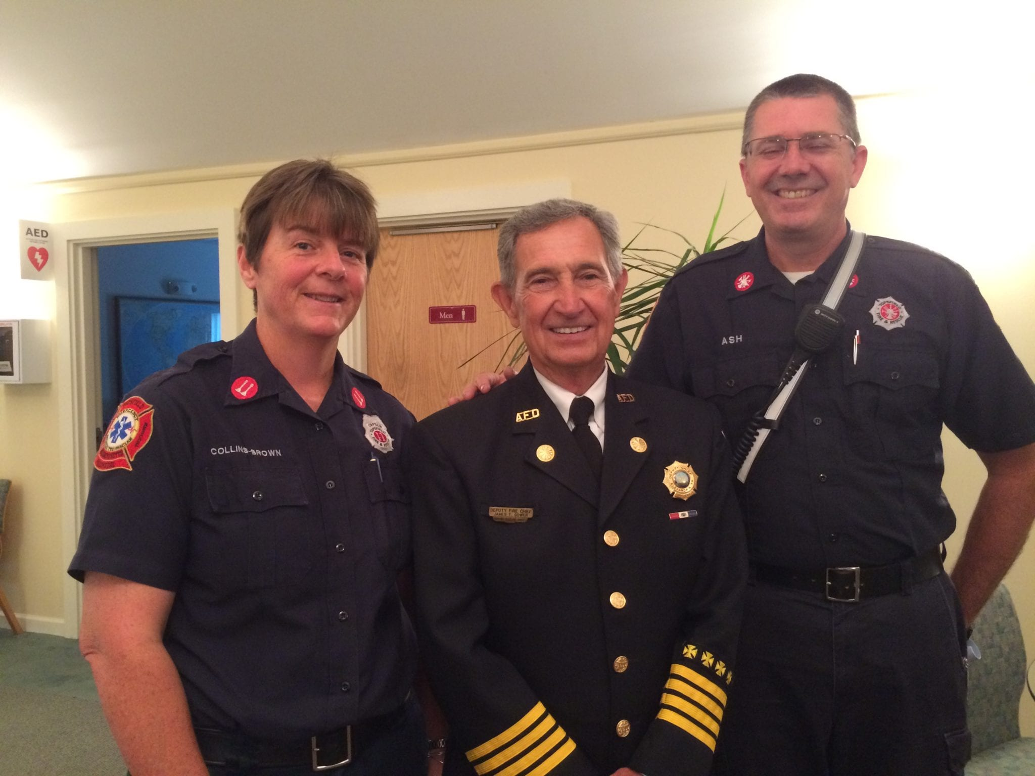 Pictured here are Captain Jen Collins-Brown, Deputy Chief Gower, and Firefighter Thomas Ash.