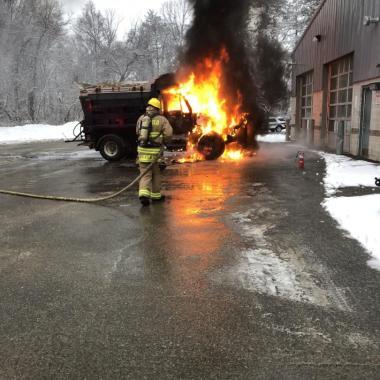 Topsfield Firefighters Extinguish Plow Truck Fire