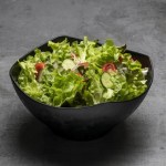 Zen Square black round Bowl Large with lettuce salad