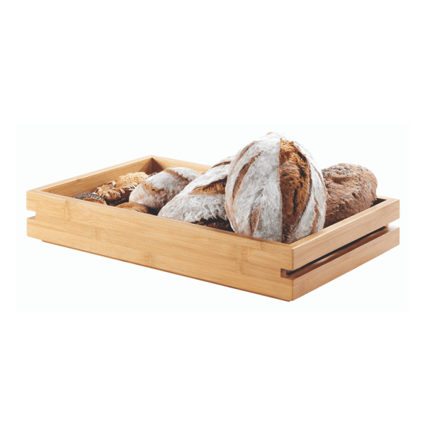 rectangular long bamboo tray with freshly baked bread