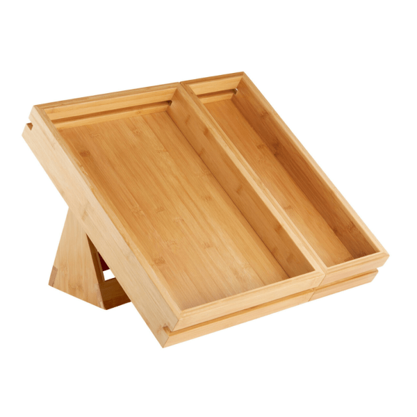 Bakery bamboo tray with stand with two divisions