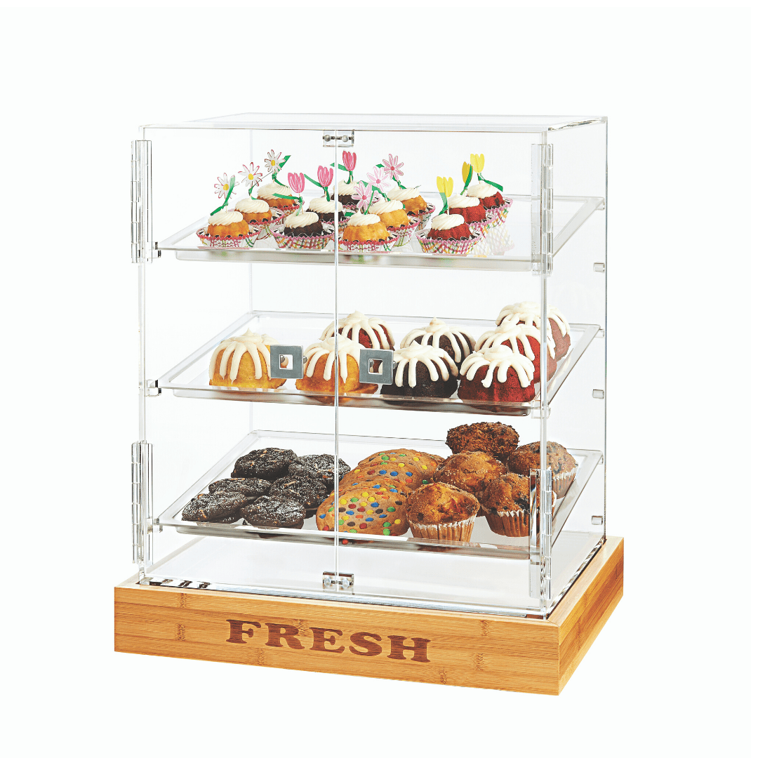 Bakery Cabinet Acrylic Double Serving Mode With Bamboo Base