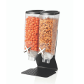 black double container space saver bulk foods dispenser with black base
