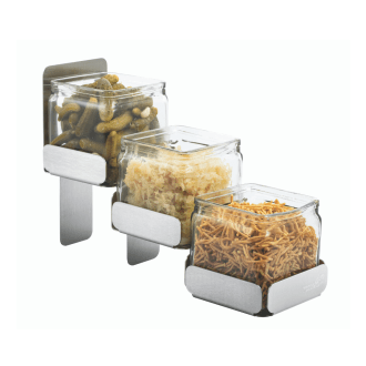 3 Glass Jars with Stand – Stainless Steel