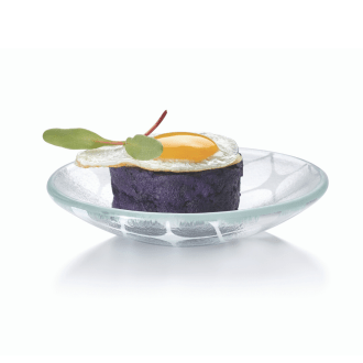 Mini glass round canape plate with textured glass