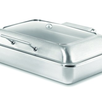 Chafer with soft closing lid in stainless steel