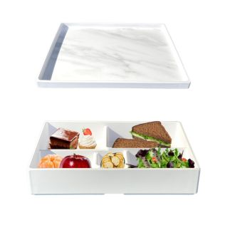 Reusable Melamine Lunch Box with 5 compartments and white marble lid