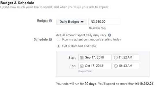 successful Facebook ad in Nigeria