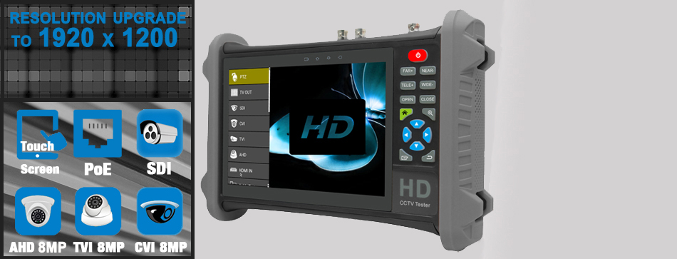 7 inch AHD TVI CVI test monitor for 8MP camera