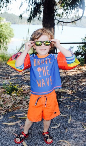 Chaos' swimwear one size bigger, age 4-5 (for a 3.5 year old)