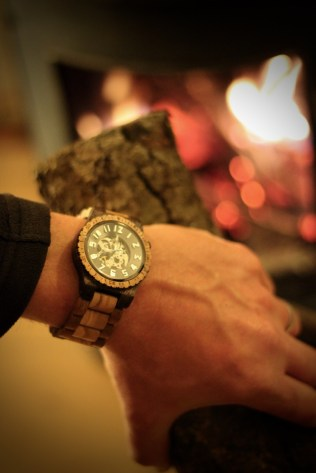 JORD Olive and Acacia Wood Watch Review by Topsy Turvy Tribe. Wearing this unique watch whilst putting olive wood in the woodturning stove