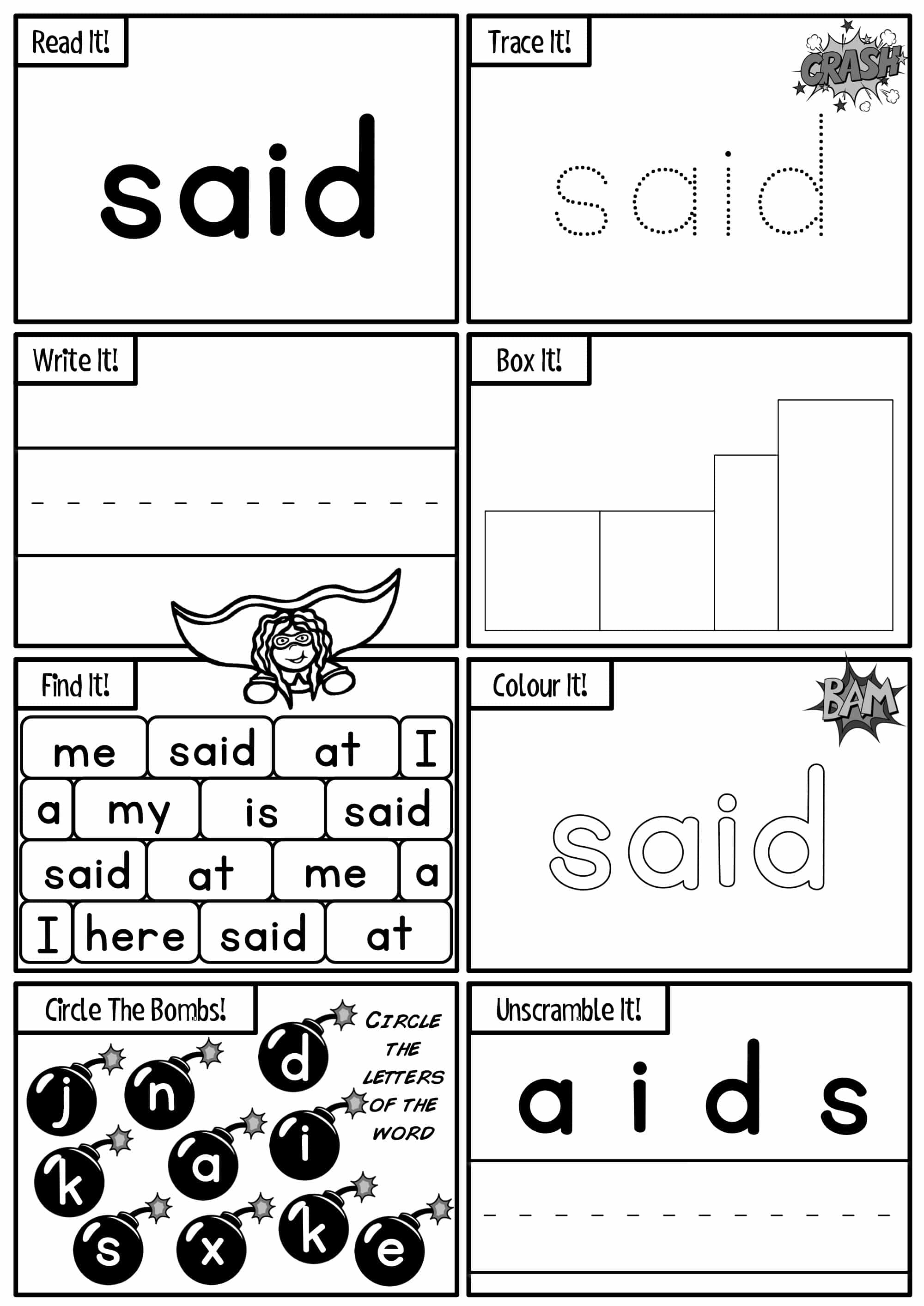 My High Frequency Word Worksheet