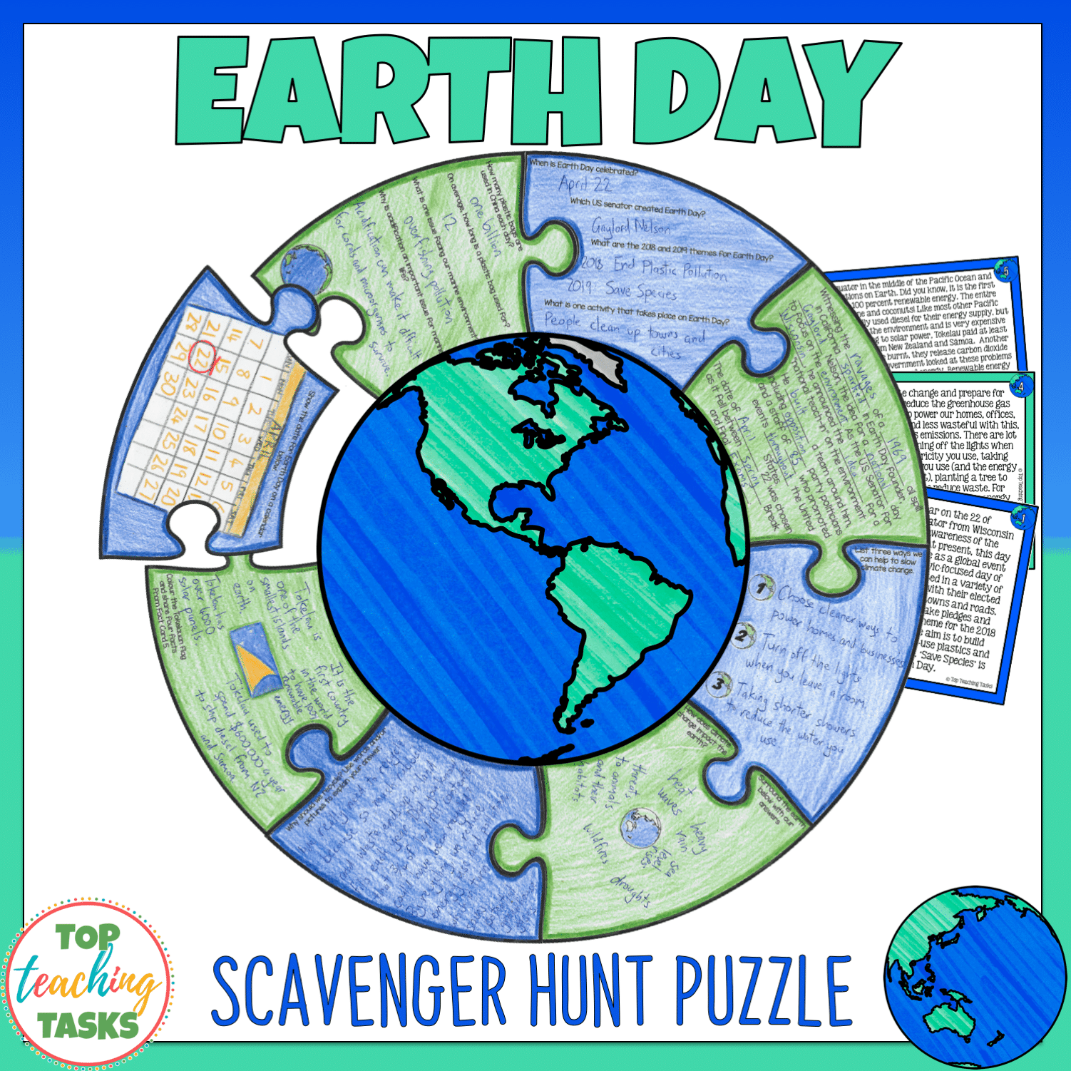 Earth Day Reading Comprehension Puzzle Activity
