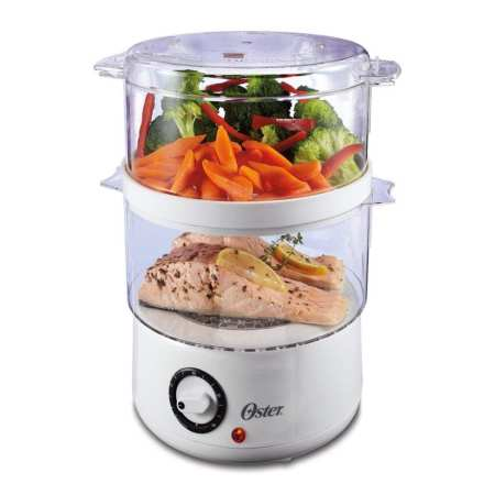 Oster CKSTSTMD5-W-015 Double Tiered Food Steamer