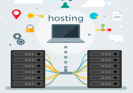 laptop connected to hosting servers
