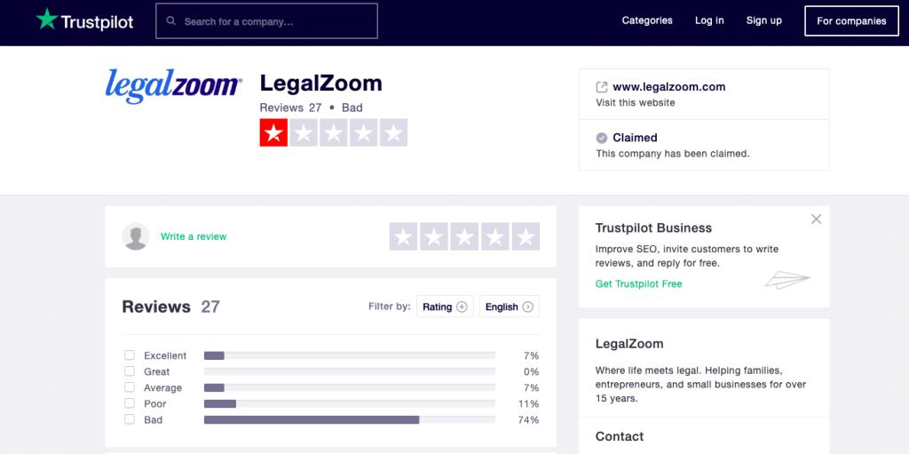Legalzoom Trustpilot