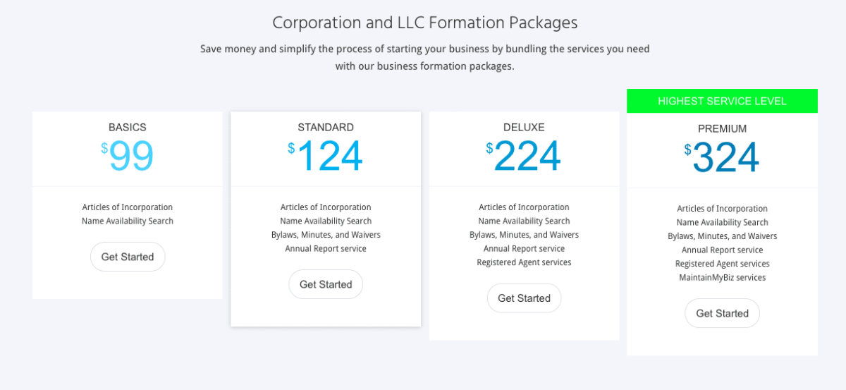 MyCorporation LLC Prices