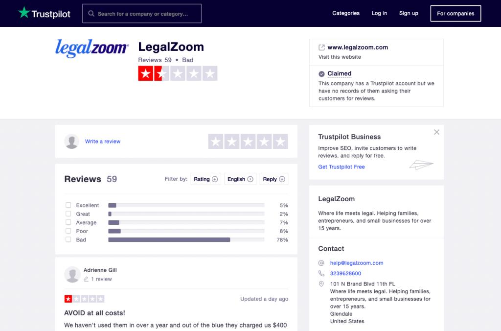 Legalzoom Trustpilot reviews 4 11 2020