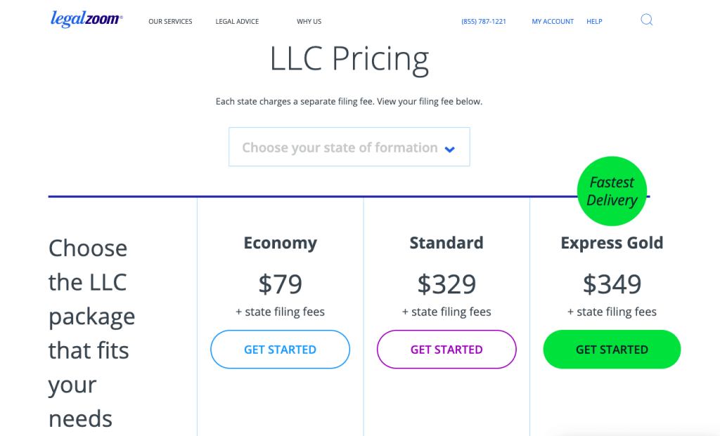Legalzoom business formation prices