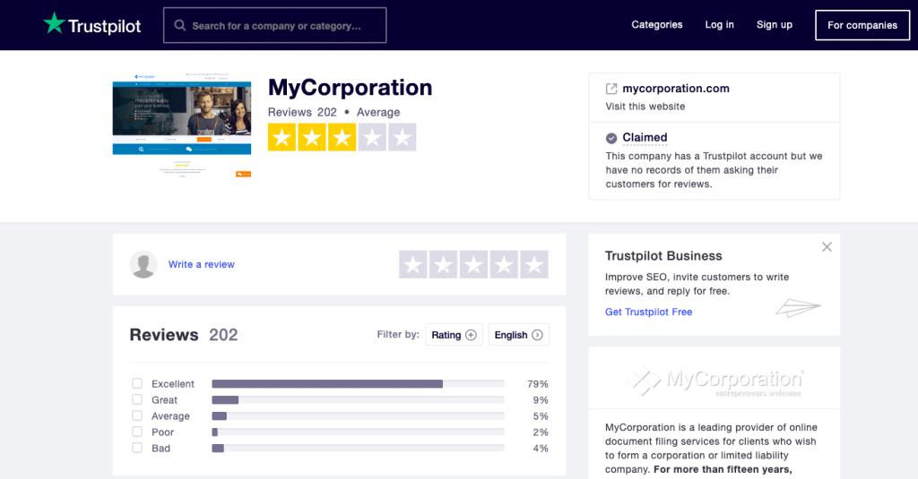 MyCorporation Trustpilot reviews