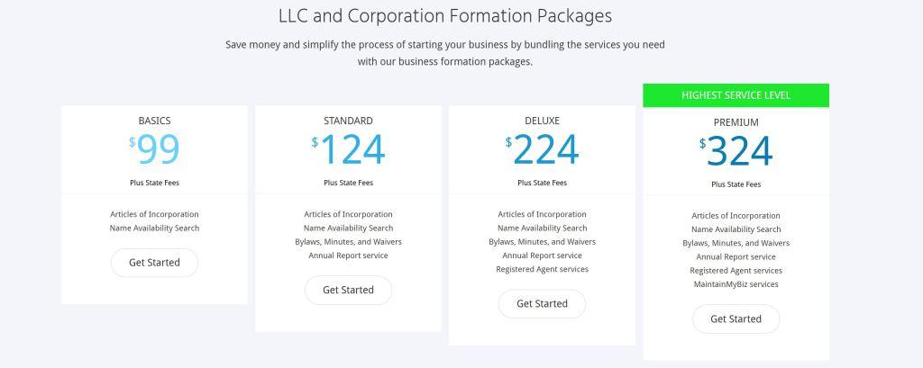 MyCorporation LLC Pricing