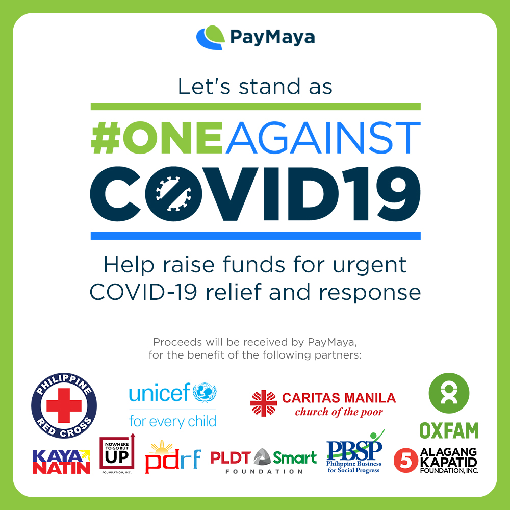 #OneAgainstCOVID19: Donate to Philippine Red Cross, UNICEF, Caritas Manila, Oxfam Pilipinas, and others through PayMaya