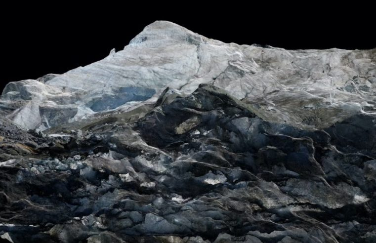 patten's icy track 'Cerulean' mapped to glacier contours in Dan Holdsworth visual