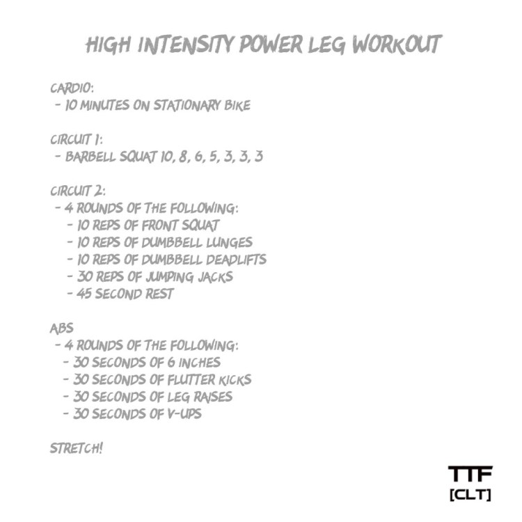 High Intensity Power Leg Workout