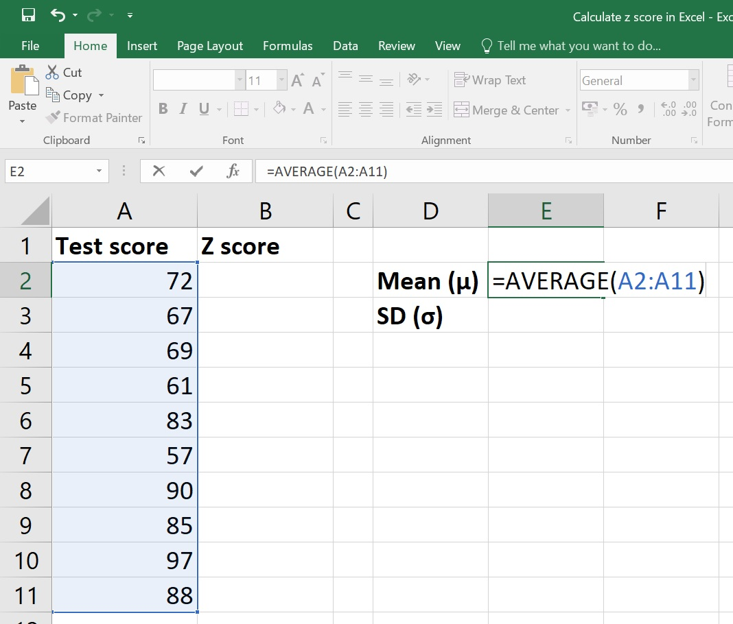 Calculate Z Score In Excel Average