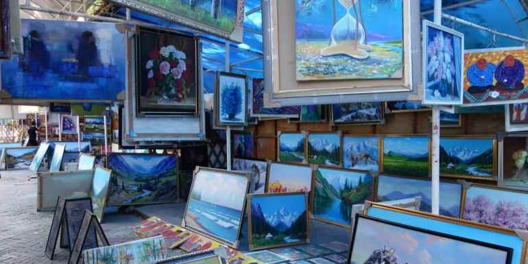 Paintings Bazaar in Bishkek