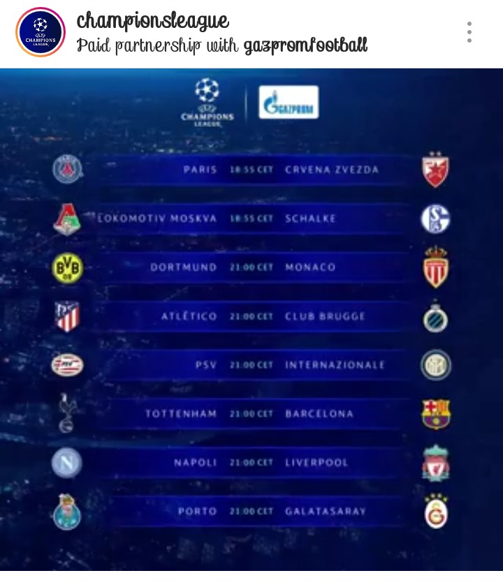 Uefa Champions League Match Day Fixtures And Possible
