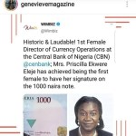 Meet The First Female To Have Her Signature On Naira Note