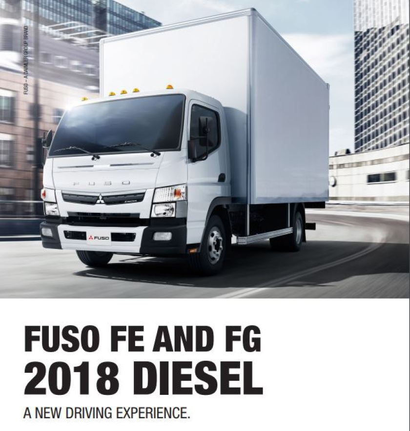 Cover of our 2018 Fuso diesel truck brochure.