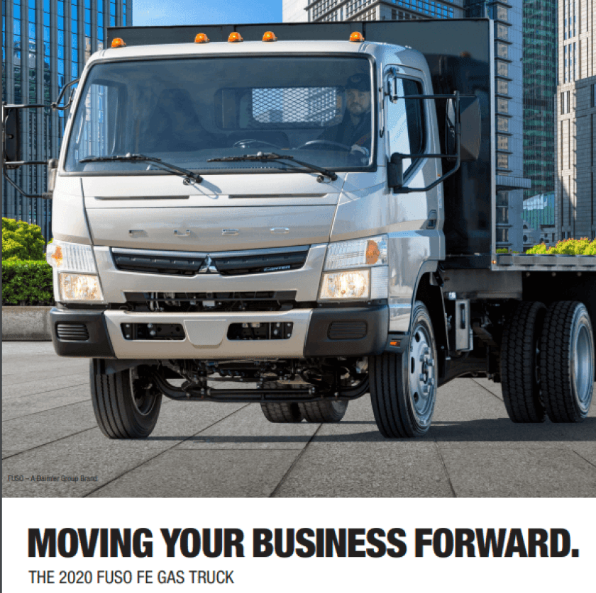 Moving your business forward with the 2020 Fuso FE gas truck brochure cover.