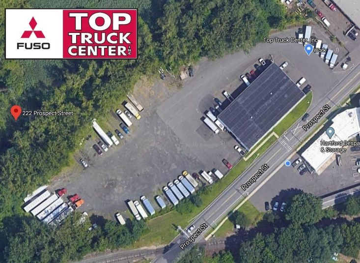 Overhead view of the Top Truck Center, Inc. facility located at 222 Prospect St. East Hartford, CT 06108