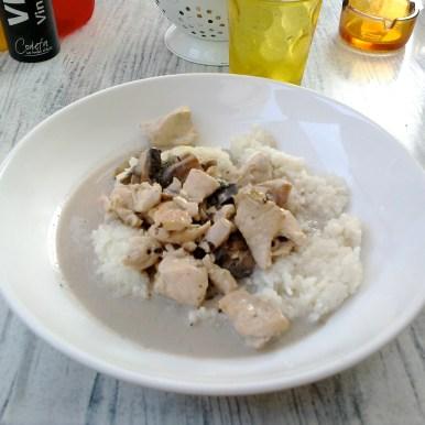 Risotto poulet-champignons