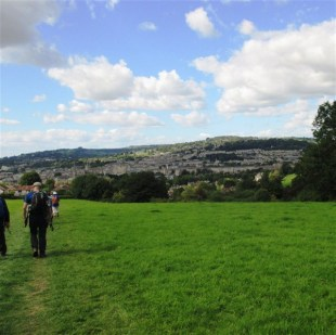Across Smallcome Vale and down Widcomobe Hill