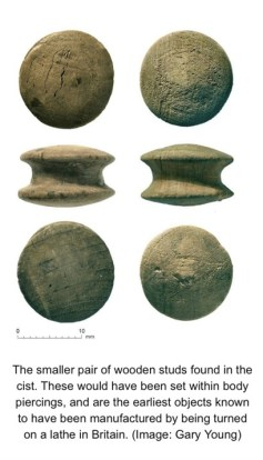 Bronze Age ear studs - located in The Box, Plymouth