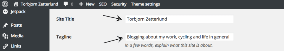 General Settings ‹ Torbjorn Zetterlund — WordPress