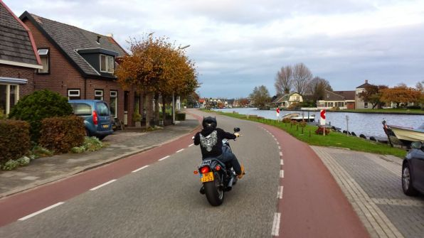 A motorcyclist enjoying the day near Aalsmeer