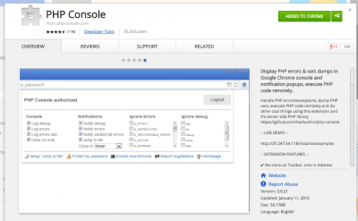 PHP Console - Chrome Web Store