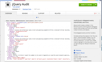 jQuery Audit - Chrome Web Store