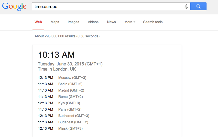 time:europe on Google Search