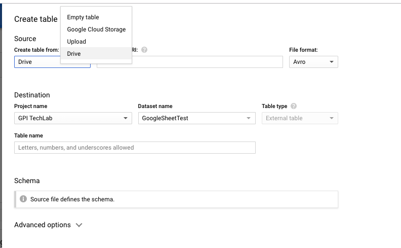 Creating a table in BigQuery with your Google Sheet data | Torbjorn