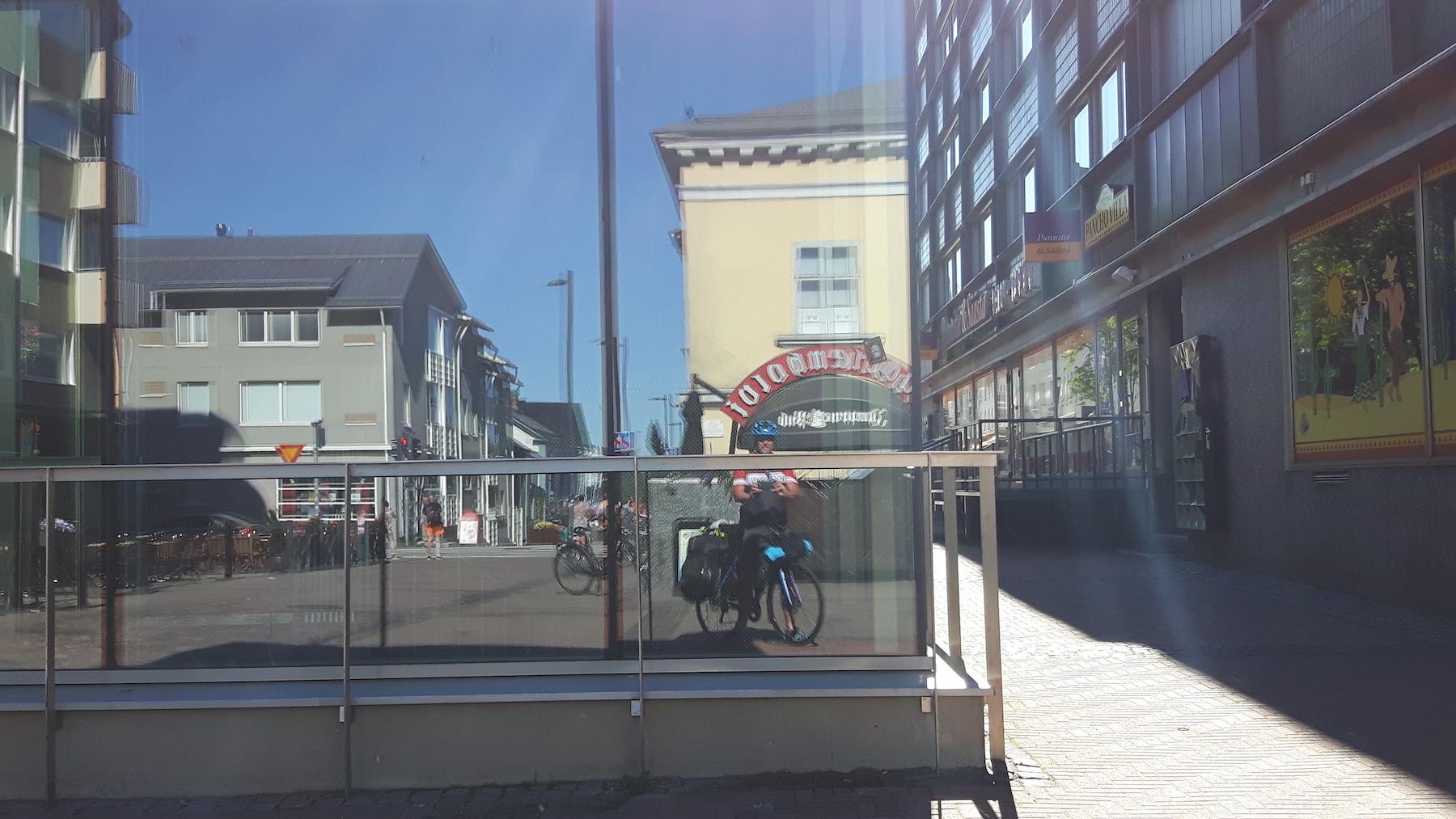 Reflection in a building window Oulu Finland