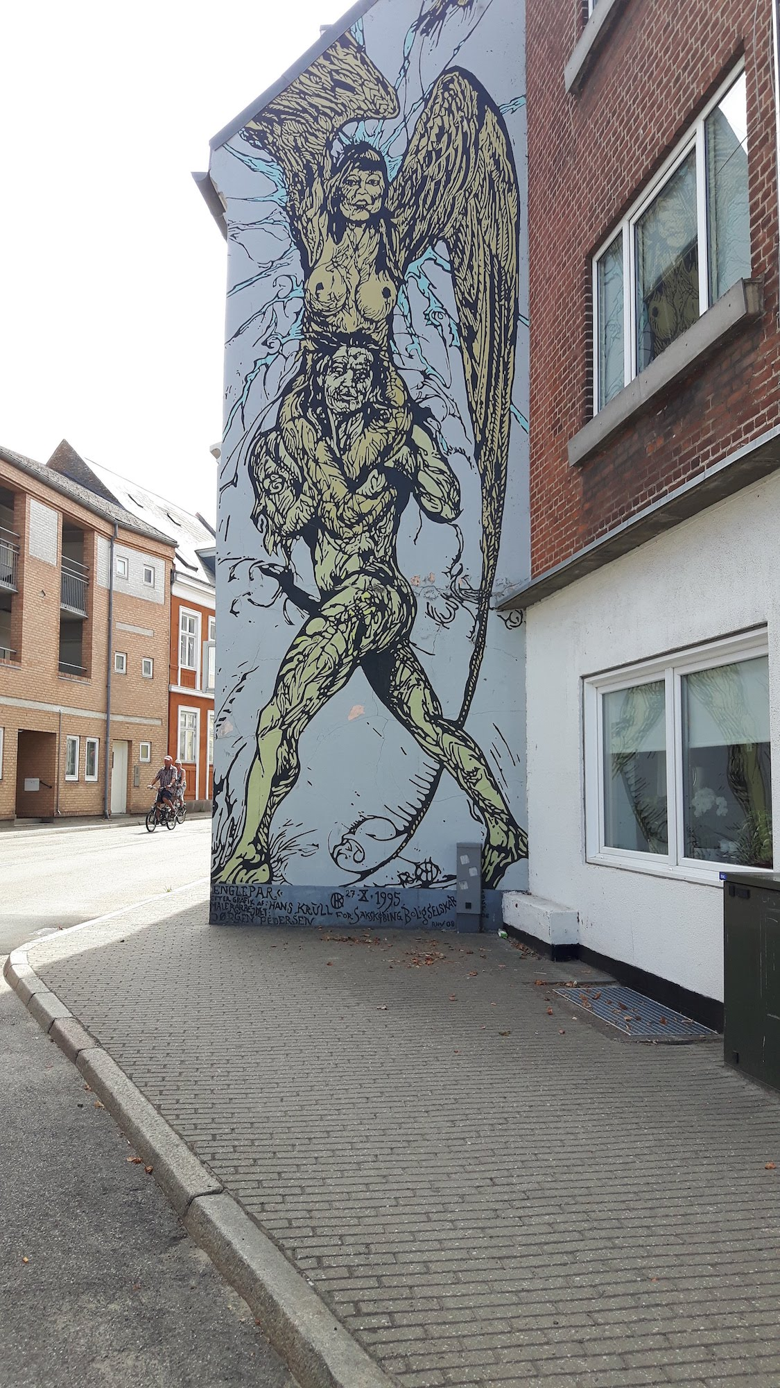 A painting on the side of a building in Denmark